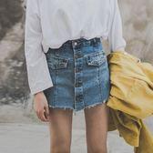 【新年鉅惠】防走光牛仔單寧裙褲女高腰單排扣褲裙