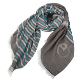 ARMANI COLLEZIONI條紋拼色絲薄圍巾(淺灰藍)102802-2