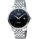 MIDO美度 永恆系列80小時天文台認證矽游絲機械錶-黑x銀/40mm M0274081105100