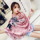 時尚韓版圍巾玫瑰花朵圖案印花絲巾旅游防曬披肩女「千千女鞋」