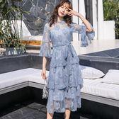 美之札[98755-QF]花邊立領日系腰綁蝴蝶結蛋糕裙擺正式洋裝~ 尾牙晚宴~