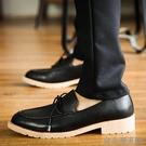 秋季英倫正裝商務尖頭皮鞋男鞋鬆糕厚底流蘇青年繫帶增高休閒鞋子
