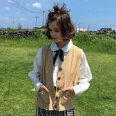 韓版女復古純色氣質百搭工裝背心單排扣口袋馬甲學生上衣外套   蜜拉貝爾