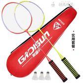 羽毛球拍雙拍2支成人初學進攻耐打耐用型學生兒童單拍健LX