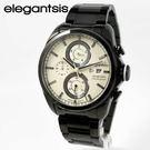 【萬年鐘錶】elegantsis  時尚三環 重機競速錶 黑x黑  45mm  ELJT42R-6W06MA