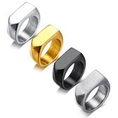 《 QBOX 》FASHION 飾品【QRC-381】精緻個性潮流箭頭平面鈦鋼戒指/戒環(四色)
