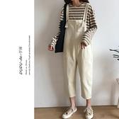 春季新款韓版連體九分褲學生牛仔背帶褲女裝寬鬆高腰直筒褲子 快速出貨