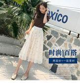 網紗裙 夏季百褶碎花網紗裙半身裙長裙夏季chic仙女裙子時尚