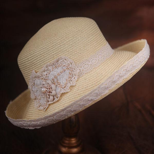臺灣苧麻帽子夏天甜美可愛太陽草帽卷邊沙灘帽遮陽帽 -396400113