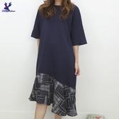 【秋冬新品】American Bluedeer - 下擺拼布洋裝 二色