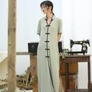 S/S綠豆灰棉制針織寬鬆彈性短袖長旗袍洋裝  茱莉亞