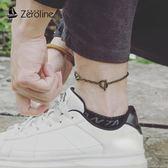 手鍊 日韓簡約純色時尚鎖腳鏈男女款兩用鈦鋼復古學生情侶手鏈