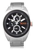 Hugo Boss 運動競賽三眼日曆腕錶-銀