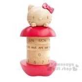 〔小禮堂〕Hello Kitty 造型木質旋轉萬年曆《棕紅》桌曆.月曆.日曆 4901610-60915