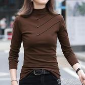 打底衫 純棉打底衫女春秋冬半高領長袖t恤2020新款百搭加絨洋氣德絨內搭