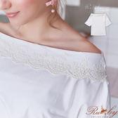 上衣 一字領蕾絲滾邊七分袖上衣-白色-Ruby s露比午茶