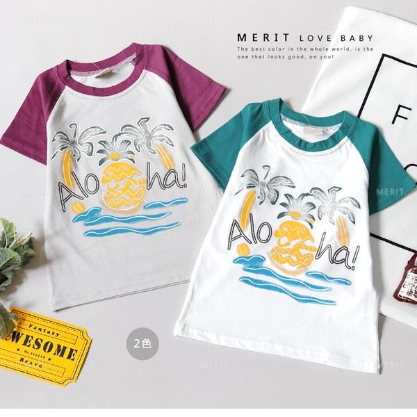 純棉 海島風情椰子樹撞色棒球短T 男童 春夏 短袖 上衣 T恤