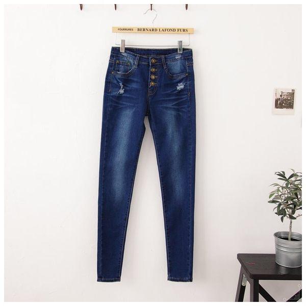 梅梅露*【69010123】牛仔褲。四釦極緻美身長褲