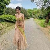 吊帶裙 2021早春荼蘼顯白拼接重工公主洋裝吊帶蕾絲下擺解構油畫長裙【快速出貨】