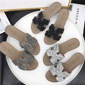 丁果女鞋35-39►2019歐美時尚水鑽休閑低跟平底簡約H涼拖鞋*3色