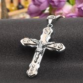 雙12鉅惠 基督教耶穌倒十字架吊墜鈦鋼項?男生潮雙層掛飾簡約迷你日韓配飾