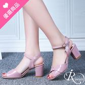 歐美時尚優雅漆皮水鑽吊飾高跟涼鞋/2色/35-42碼 (RX0507-930-3A) iRurus 路絲時尚