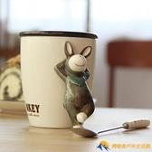 情侶帶蓋勺卡通陶瓷馬克杯早餐牛奶咖啡水杯【勇敢者】
