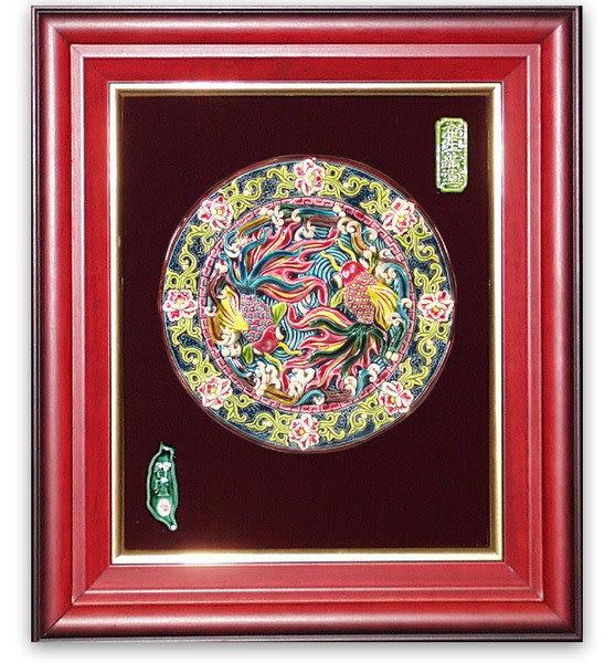 鹿港窯-交趾陶居家開運裝飾壁飾~L金玉滿堂