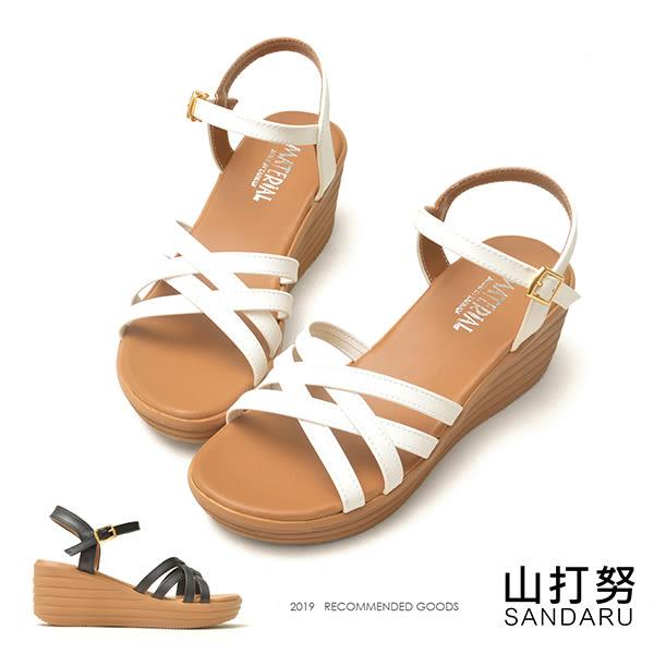 涼鞋 交叉線條側扣楔型鞋- 山打努SANDARU【1072510#46】