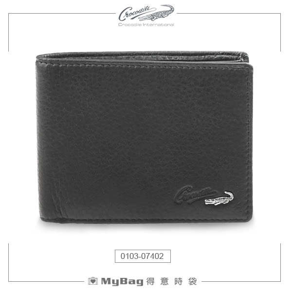 Crocodile 鱷魚 皮夾 / 短夾 0103-07402-01 黑色 時尚簡約牛皮男夾 MyBag得意時袋