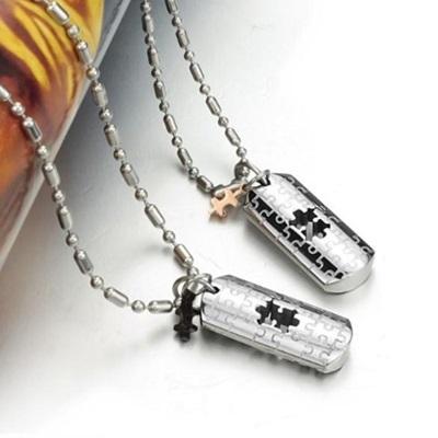 鈦鋼項鍊墜飾(一對)-愛情密碼生日情人節禮物男女對鍊2色73cl133【時尚巴黎】