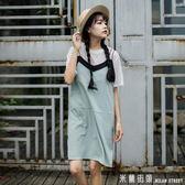 洋裝 小傾心文藝風格館夏裝假兩件背帶裙女裝學生裙子夏寬鬆吊帶洋裝/連身裙 米蘭街頭