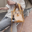 果凍包 手提包 學生透明果凍包包女2021新款潮韓版單肩時尚斜背包百搭手提子母包