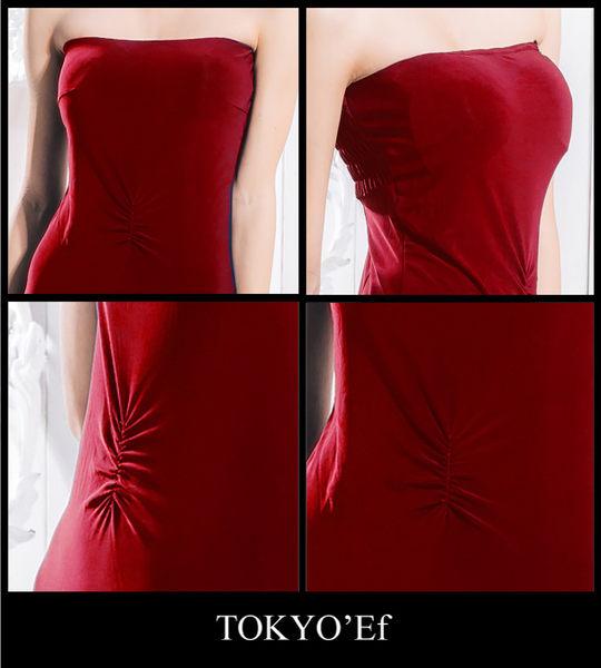 東京衣服 埃及豔后 平口腹部抓皺合身長禮服 紅