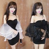 夏季新款時尚性感夜店女裝氣質抹胸露背緊身顯瘦包臀洋裝女 卡布奇诺