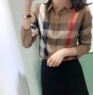 格子襯衫 女2020春秋新款百搭顯瘦氣質打底衫長袖翻領上衣【新品上架】