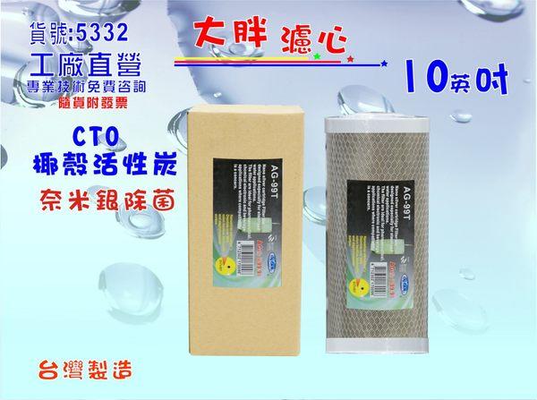 大胖淨水器10英吋99.9%奈米除菌濾心全戶水塔過濾器CTO活性炭濾心.貨號:5332【巡航淨水】
