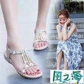 涼鞋 軟底涼鞋女夏季平底鞋年舒適防滑百搭水鑚波西米亞【風之海】