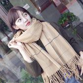 圍巾/披肩 圍巾女冬季韓版加厚長款日系小清新針織格子英倫雙面