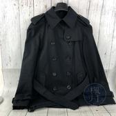BRAND楓月 COACH 蔻馳 深藍 黑 經典 造型 元素 翻領 槍擋 肩帶 腰帶 雙排扣 短 風衣 大衣 外套