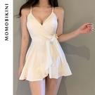 沫初見韓國新款性感小胸裙式連體度假學生保守遮肚游泳衣女泡溫泉