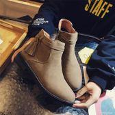 新款流蘇短靴女韓版百搭裸靴粗跟圓頭加絨學生平底馬丁靴·蒂小屋
