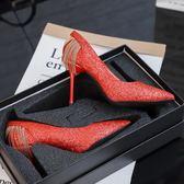 高跟鞋 婚鞋水晶鞋性感紅色高跟鞋細跟晚禮服新娘鞋 巴黎春天