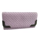 【奢華時尚】BOTTEGA VENETA 淡紫色編織皮革金屬邊框10卡信封長夾(九八成新)#25167