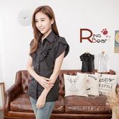 襯衫--秀氣小公主素面荷葉領造型珍珠釦襯衫(白.黑S-3L)-H109眼圈熊中大尺碼