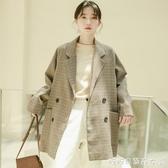 西裝外套女-小西裝外套西服女士上衣復古港味法式韓版春秋寬鬆英倫風格子休閒 糖糖日系