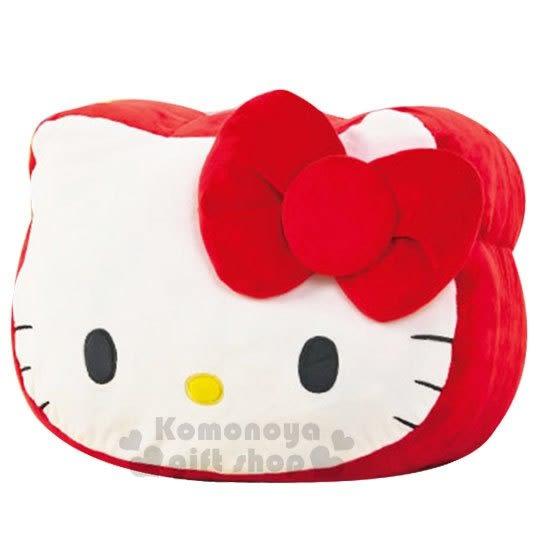 〔小禮堂〕Hello Kitty 大臉造型絨毛抱枕《紅白》靠墊.靠枕.午安枕 5983164-75560