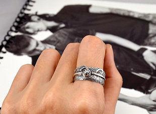 銀羽毛筆封泥男士戒指