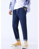 九分牛仔褲男生寬鬆直筒青少年系繩長褲子韓版潮流百搭秋冬季 yu8456【艾菲爾女王】