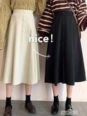 春秋韓版高腰顯瘦中長款單排扣chicA字半身裙女傘裙